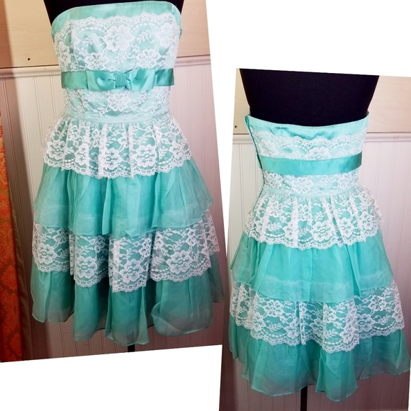Betsey Johnson Evening Mint White Lace Dress